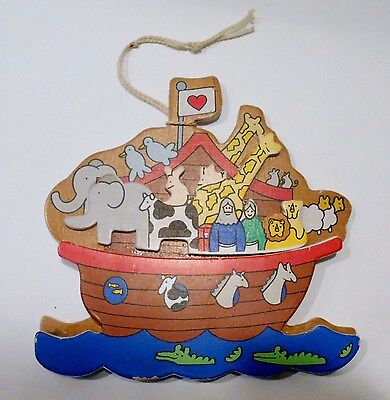 Vtg Noah's Ark Xmas Tree Ornament Wood Animal Bible Story Sunday School 1989