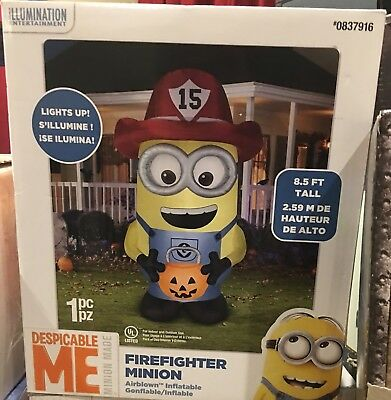 New~Halloween 8.5FT FIREFIGHTER Minion Gemmy Airblown INFLATABLE BLOW UP