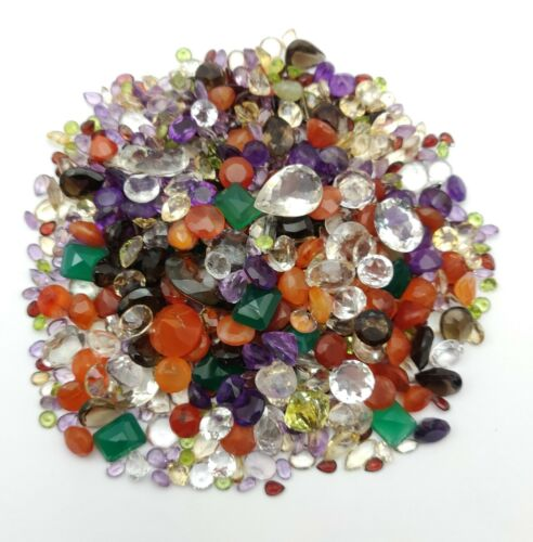 250 Carat Lot of Natural Mix Faceted Cut stone~Amethyst, Citrine, Onyx, Quartz