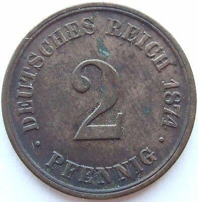 TOP! 2 Pf 1874 A in SEHR SCHÖN / VORZÜGLICH !!!
