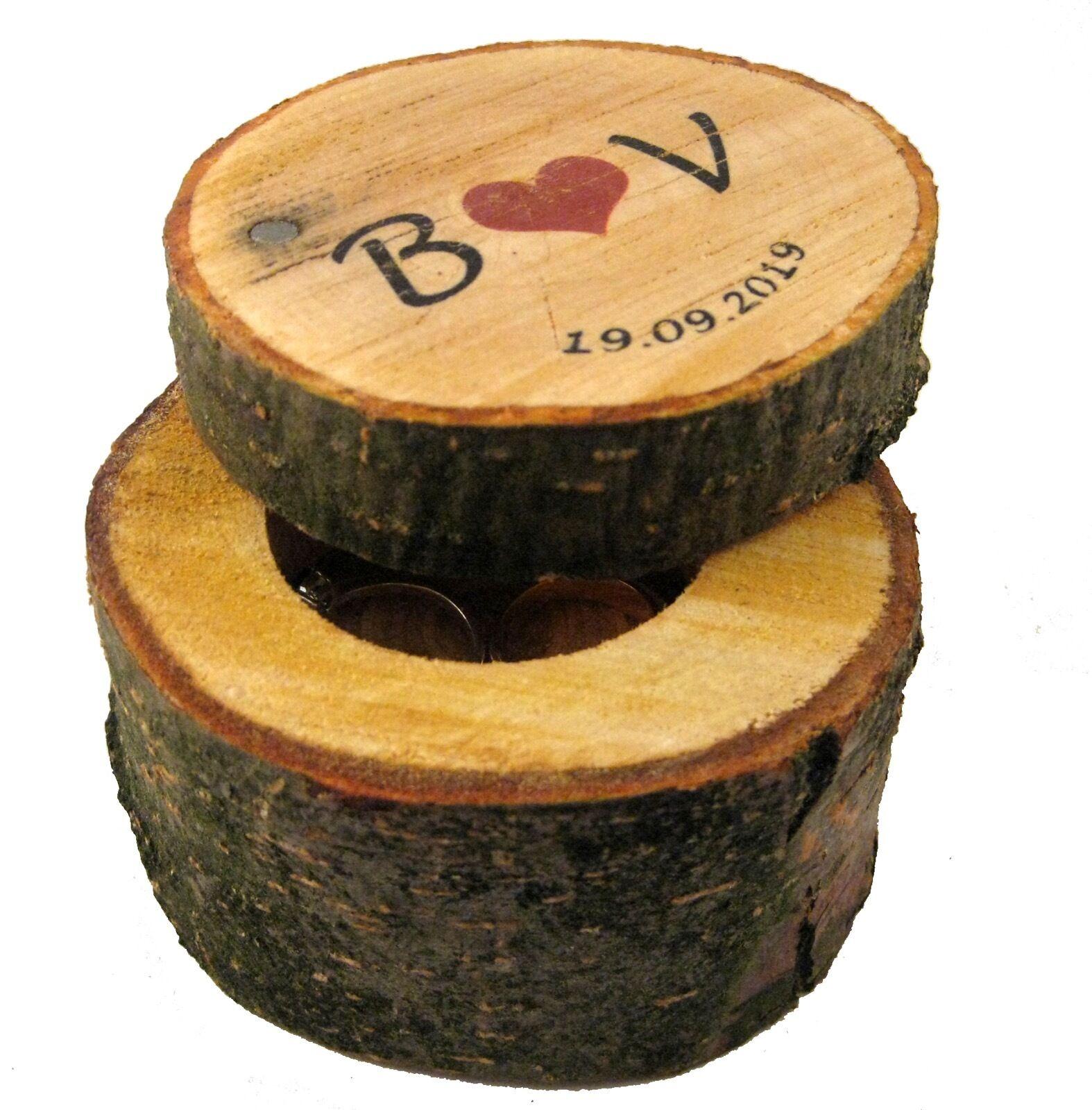 ... BAUMSTAMM Ringkissen Ringkästchen Vintage Hochzeit Holz Box Eheringe