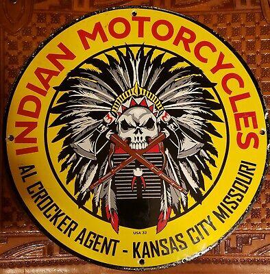 RARE OLD VINTAGE 1932 INDIAN MOTORCYCLE PORCELAIN DEALER ADVERTISING SIGN HEAVY