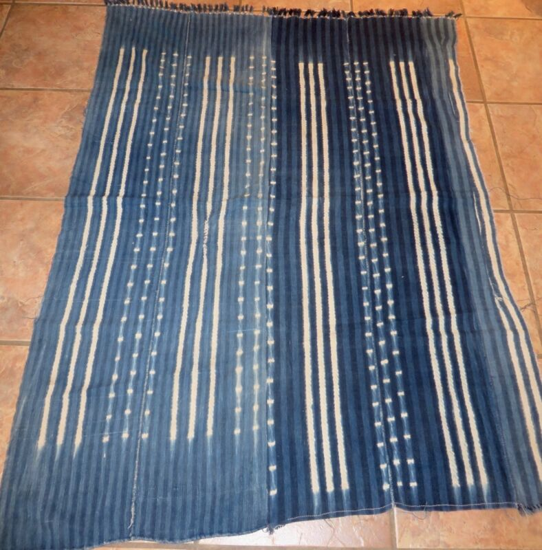 "Vintage African,Dogon Indigo Resist Dyed Fabric/Hand Woven Cotton Strips/40""x56"""