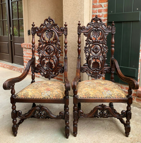 PAIR Set Antique French Carved Oak Dining Throne Arm Chair Louis XIV Renaissance