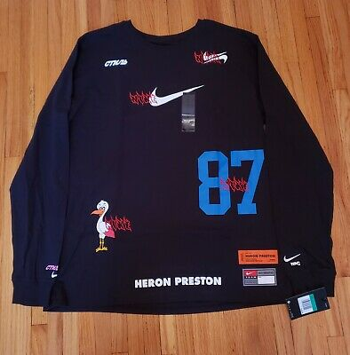 Nike Heron Preston End Zone Long Sleeve Shirt Black New Sz XL CJ0902-010