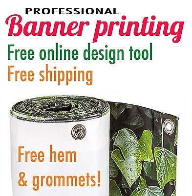 3 x 18' Vinyl banner 13oz incl custom print, free hem and grommets