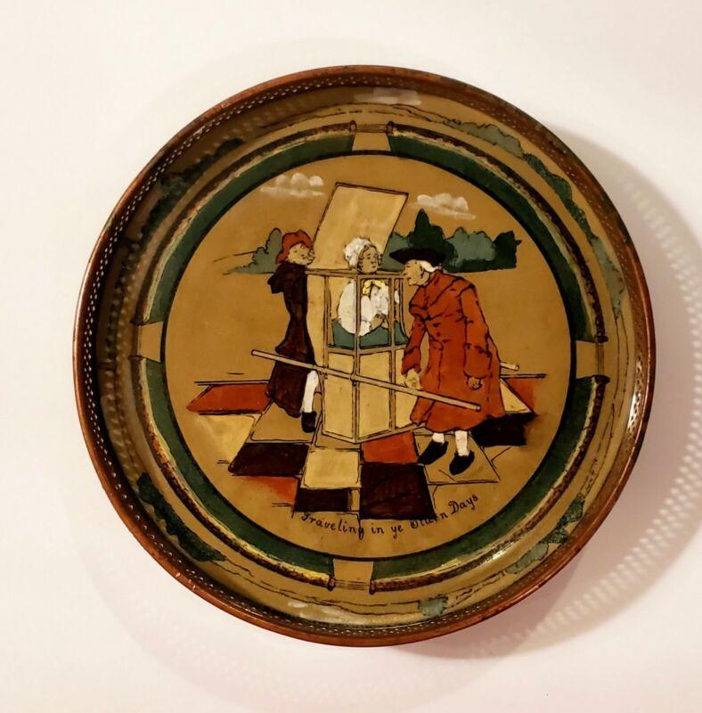 Antique Deldare 1909 Ye Buffalo Pottery Trivet Copper Traveling In Ye Olden Days