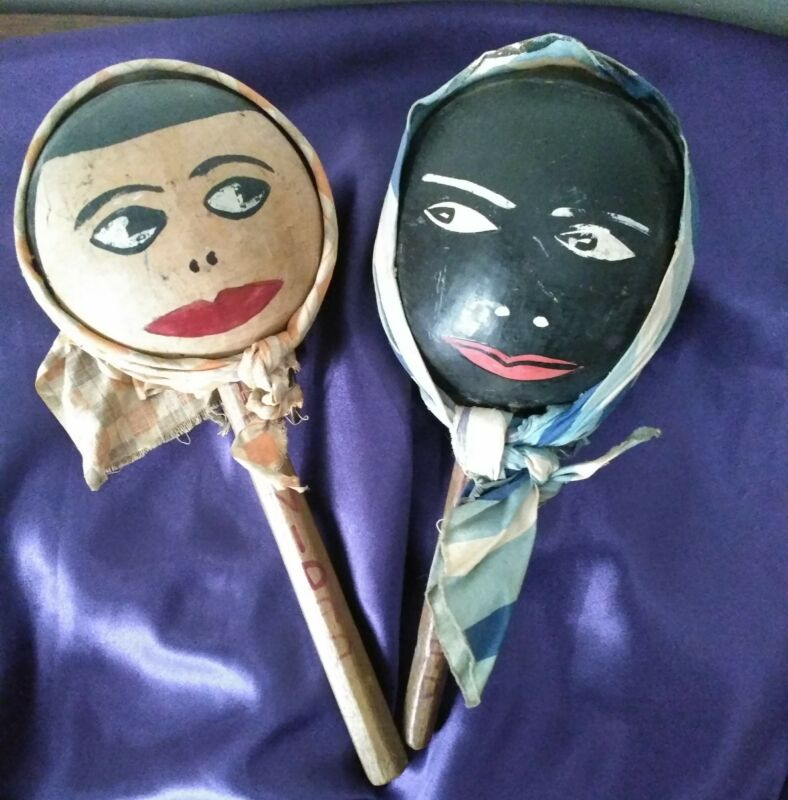 Vintage Folk Art Hand Painted Musical Maracas Shakers Chac Chacs From Trinidad
