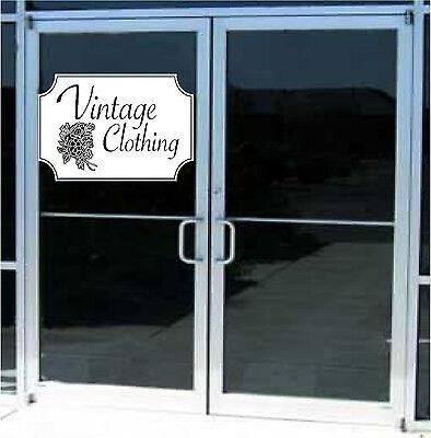 Vintage Clothing Business Sign Vinyl Decal Sticker Sign Window Door Glass