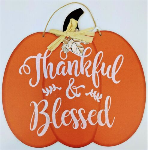 Fall and Thanksgiving Thankful & Blessed Door Wall Hanging Plaque 12