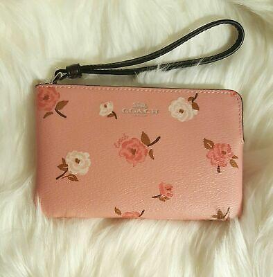 NWT Coach 67528 Petal Pink Floral Corner Zip Wristlet NEW
