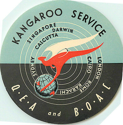Kangaroo Service ~QANTAS and BOAC~ Great Old Airline Luggage Label, 1955