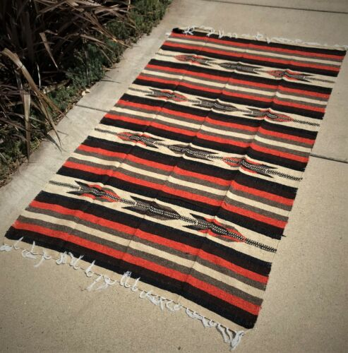 Mexican Blanket Brown Beige Orange Diamond Vintage Style Striped Thick Large