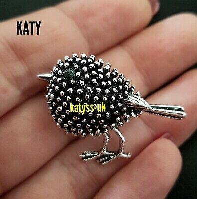 Small Vintage Style Silver Robin Green Diamante Bird Brooch Pin Broach Crystal