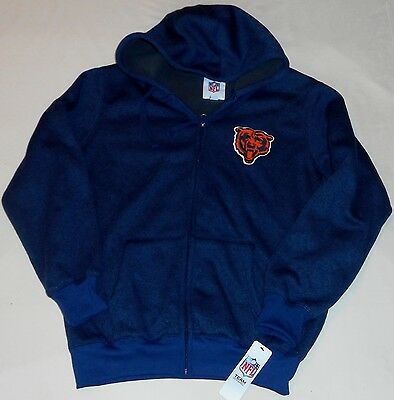 - CHICAGO BEARS HOODED ZIPPERED HOODIE JACKET MEN'S M L NAVY BLUE HEAVY WEIGHT