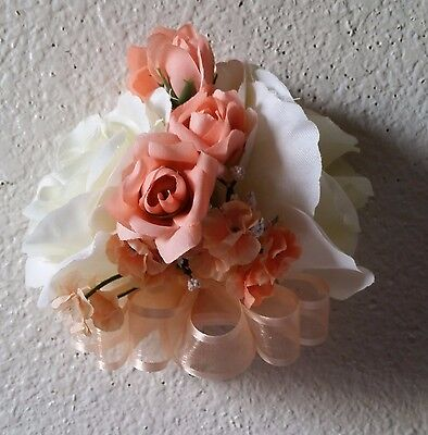 Peach Rose Boutonniere - Ivory Peach Rose Corsage or Boutonniere