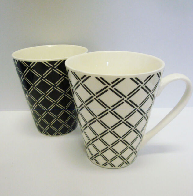 2er Set Kaffeetasse / Tasse / Kaffeebecher / Porzellan schwarz - weiß