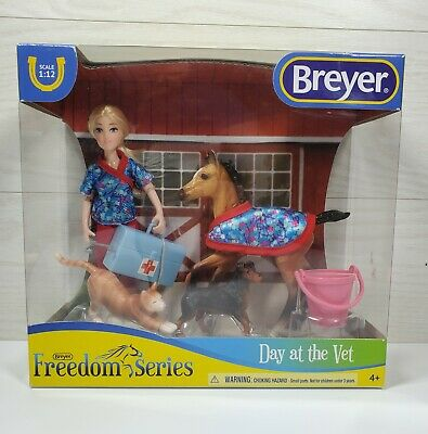 """Breyer Classics Day At The Vet 6"""" Doll and Pony and Cat Dog Toys"""