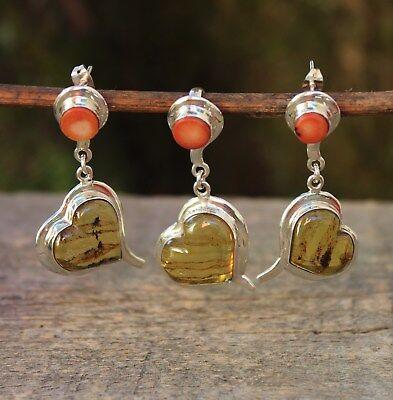 Hand Made Amber Coral & Sterling Heart Shape Earrings & Pendant Set Mexican Boho