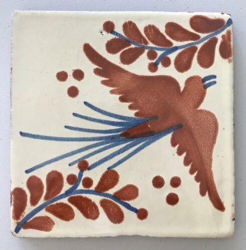 "Mexican Tile Glazed Ceramic Hand Painted Bird Flying Terra Cotta & Blue 5.75"""