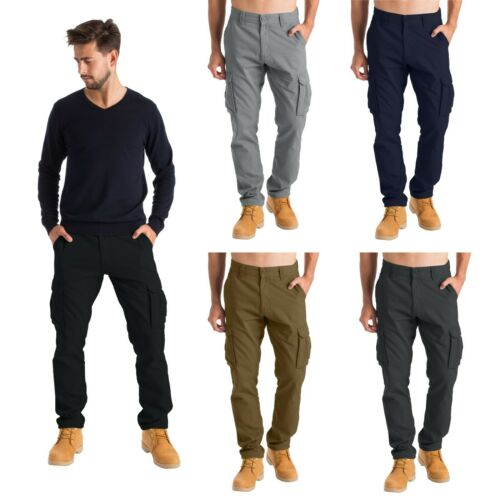 Mens Cargo Combat Work Trousers Chino Cotton 6 Pocket Full Pant size 32-44