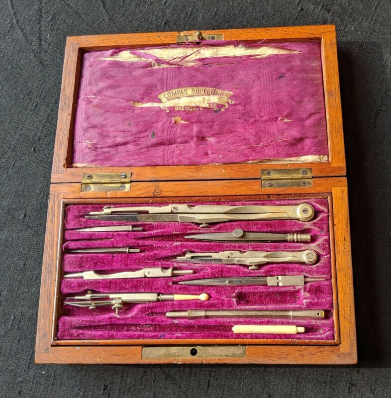 Antique Compas Superieurs Breveté SGDG Drafting Tools Drawing in Wooden Box