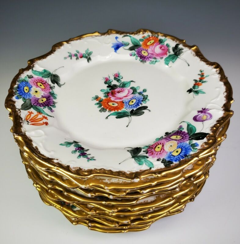 Antique Hand Painted German Dessert Plates Set of 10