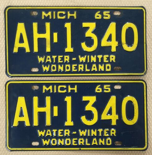 1965 Pair Michigan Passenger License Plates Tag # AH 1340