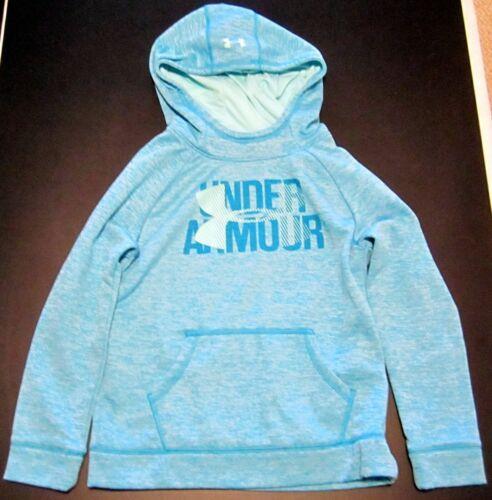 UNDER ARMOUR COLDGEAR YOUTH Hooded Sweatshirt MEDIUM Aqua Blue LOOSE w/LOGO