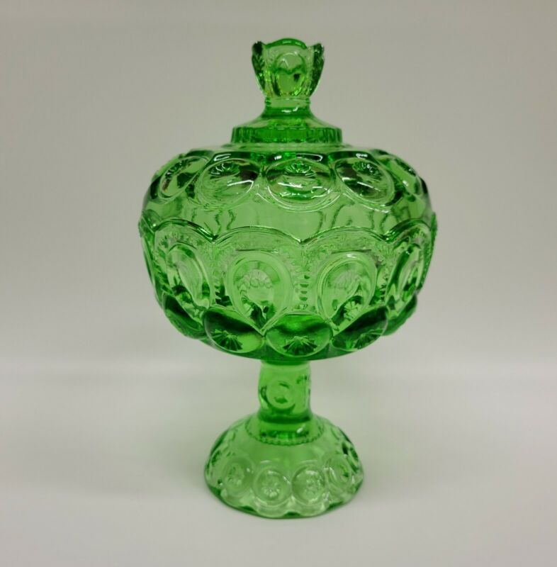 Moon And Star Glass Compote Large Candy Dish with Lid Light Apple Mint Green