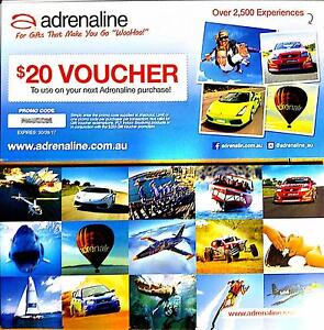 75% off $400 Adrenaline Vouchers (20x $20) use on 2500 Experience Glebe Inner Sydney Preview