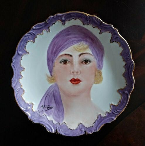 Antique Vtg Hand Painted Portrait Porcelain Plate 1920s Era Flapper Girl Signed