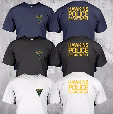 New Hawkins Police Department State Logo   Custom T Shirt Tee