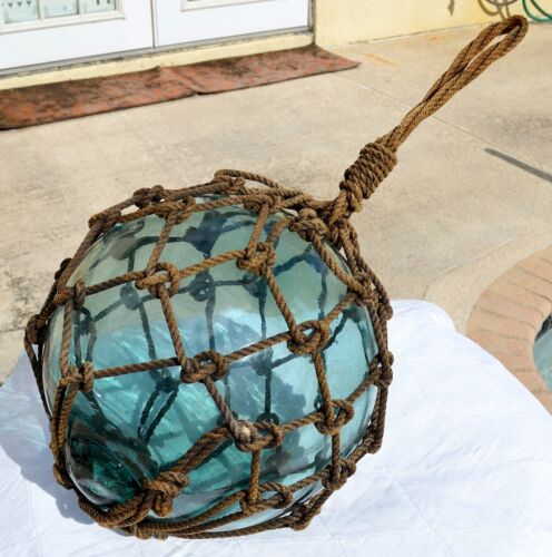 "Vintage/Antique  Large Glass Ball Net Float  Fishing Buoy  37"" Circumference"
