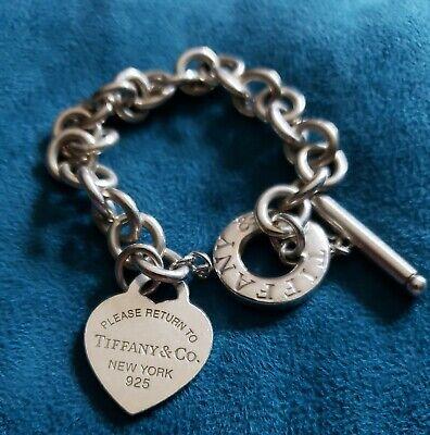Tiffany & Co. Sterling 925 Toggle Heart Charm Bracelet.  Return To Sender