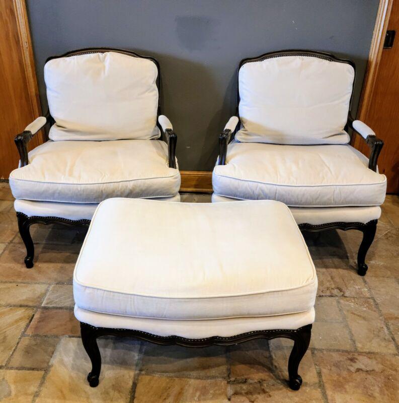Baker Furniture Louis XV Country Bergere Chairs   Pair + Ottoman   Original