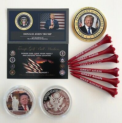Donald Trump Golf Ball Marker & Golf Tee Set...Trump Tower...MAGA + 1 Decal