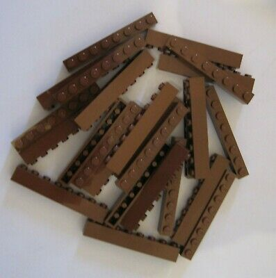 LEGO LOT OF 25 NEW 1 X 8 DOT REDDISH BROWN BRICKS *FREE SHIPPING*
