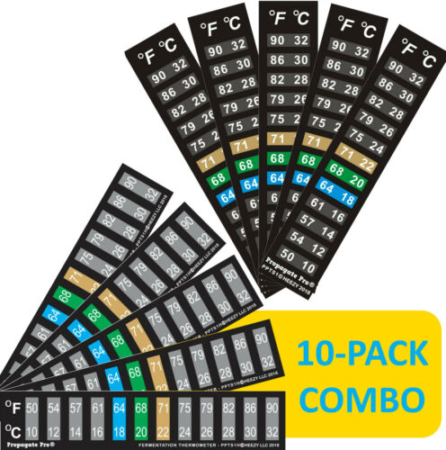 Combo Stick On Thermometer Strip Adhesive Sticker Brewing Fermenting Aquarium 10