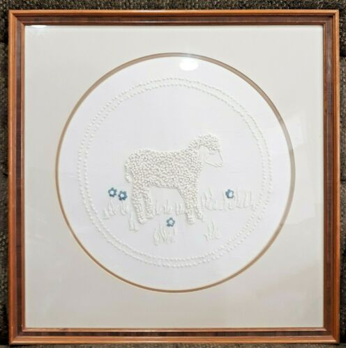 VINTAGE FRAMED EMBROIDERY EMBROIDERED iVORY ON IVORY FRENCH KNOT LAMB PICTURE
