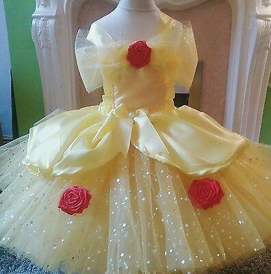 Beauty belle fairytale luxury glitter tutu dress rose wedding party princess