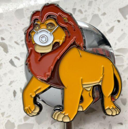The Lion King wearing Face Mask ID Holder All Metal Retractable Reel