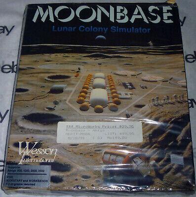 Commodore AMIGA 100% Complete MOONBASE Lunar Colony Simulator Big Box + POSTER