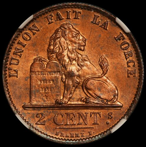 1876 Belgium 2 Centimes Copper Coin - NGC MS 64 RB - KM# 35.1