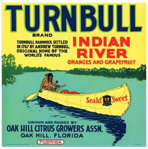 ORIGINAL CRATE LABEL VINTAGE FLORIDA INDIAN CANOE OAK HILL 1940S TURNBULL SCARCE