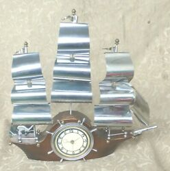 VINTAGE METALCRAFT NAUTICAL SAILBOAT SHIP ELECTRIC MANTEL CLOCK SMITHS LONDON