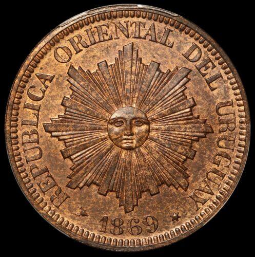 1869-H Uruguay 4 Centesimos Specimen Proof Coin - PCGS SP 64 RB - KM# 13