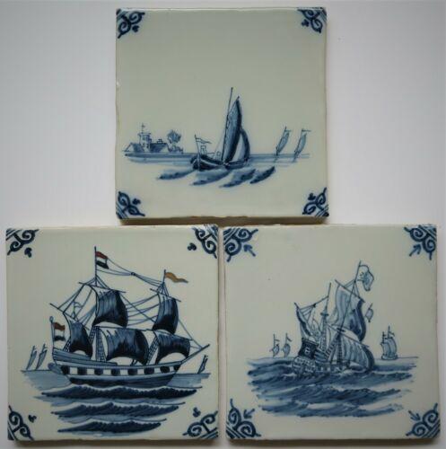3 beautiful 20th. century ROYAL TICHELAAR Makkum ship tiles.