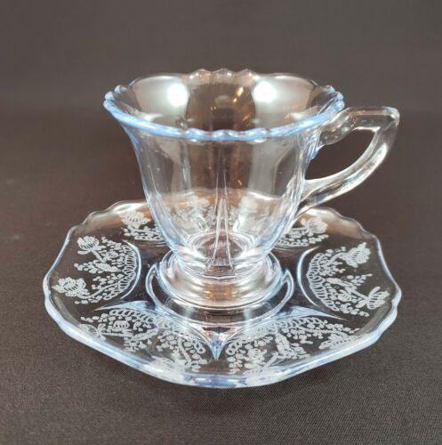 Cambridge Glass Demitasse cup and saucer 3400 line Willow Blue Gloria