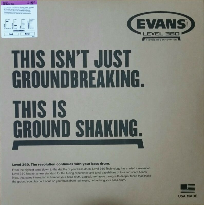 "New Evans EQ2 Batter Clear 22"" Bass Drumhead inch Free US Shipping"